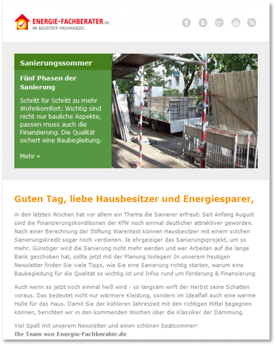 Energie-Fachberater Newsletter