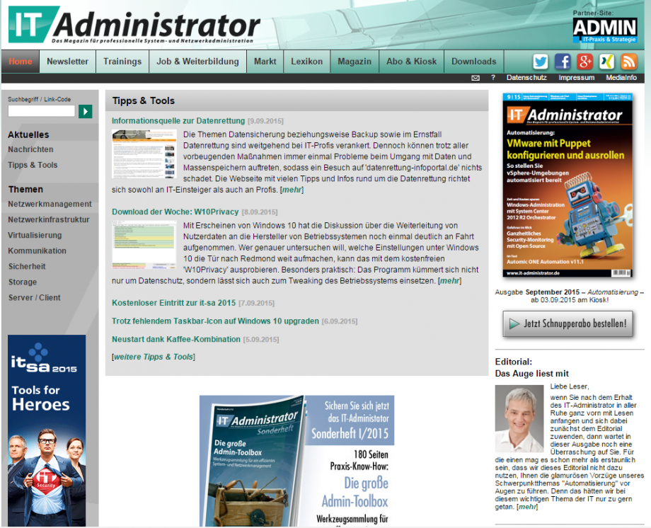 IT Administrator  Screen