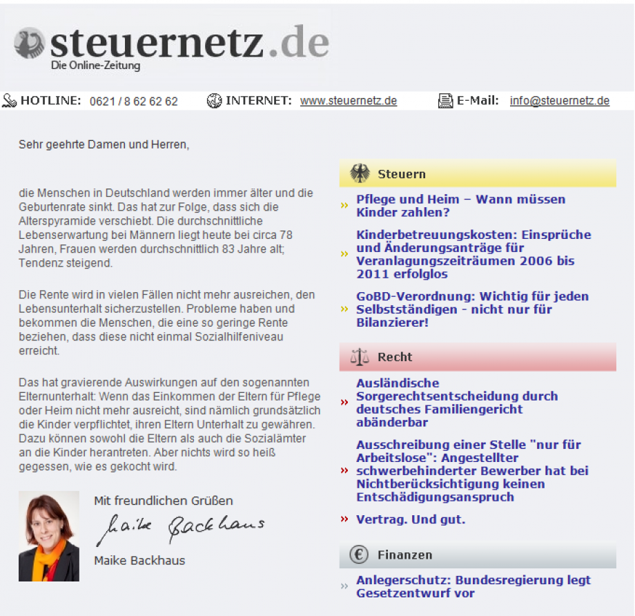 Steuernetz Newsletter